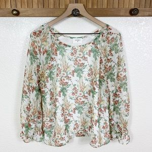 Everly Stitch Fix Floral Long Sleeve Peasant Top